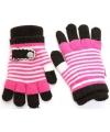 Fuchsia met zwarte kinder handschoenen