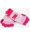 Lichtroze met fuchsia kinder handschoenen