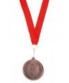 Bronzen medaille met rood lintje