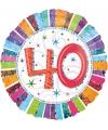 Gekleurde folieballon 40 jaar