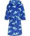 Kinder badjas blauw met haaien
