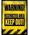 Metalen muurplaat Warning 30 x 40 cm