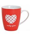 Valentijnscadeau beker met hart only you
